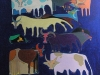 Munkhbat Norovpeljee - Cows 12 - Gouache on canvas - 100x100 cm