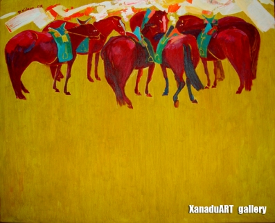 Khishigsuren B. - Horses - Oil on canvas - 45x50 cm