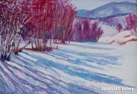 Amgalanbaatar G. - A low peak - Oil on canvas - 50x70 cm