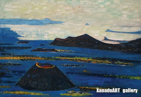 Dalkh-ochir Yondonjunai - Khorgo, Lake Terhyn tsagaan - Oil on canvas - 70x100 cm
