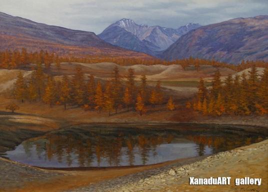 Ganbaatar B. - A cool autumn day - Oil on canvas - 80x110 cm