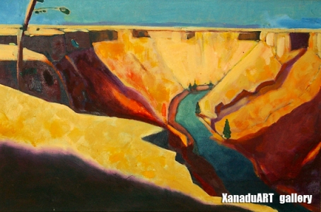 Ulziibadrah - Chuluut river - Oil on canvas - 60x90 cm