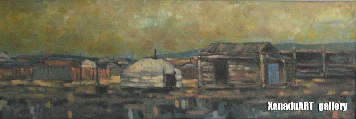 Ulziibadrah - A soum center - Oil on canvas - 30x90 cm