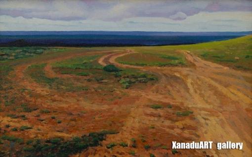 Uurtsaikh B. - The steppe of Khatsar - Oil on canvas - 30x40 cm