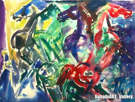 Batmunkh D. - Heaven's horse - Watercolor on paper - 56x70 cm