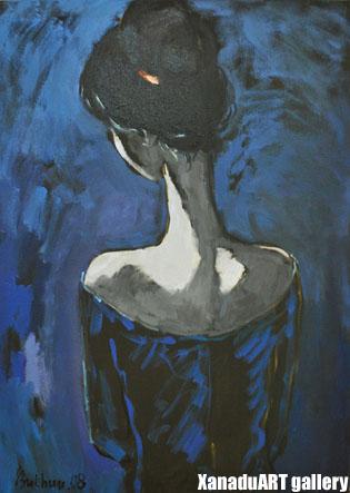 D.Bukhshandas - Moon girl - Oil on canvas - 73x53 cm