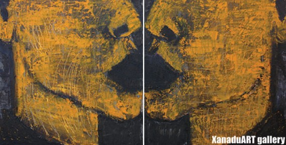 B.Badral - The sick body has been left inside the wall - Oil on canvas - 50x100 cm