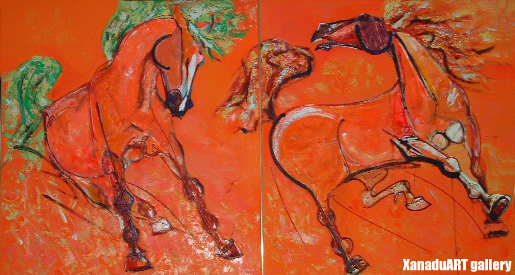 A.Chadraabal - Two stallions - Oil on canvas - 110x200 cm