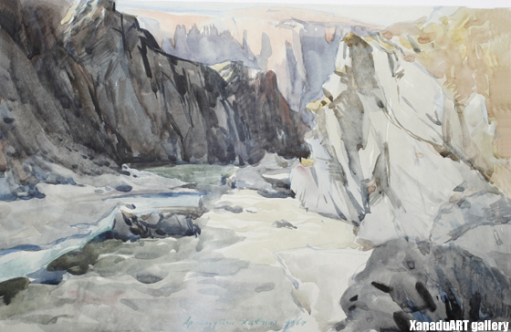 G.Odon - The cliffs of Ar galuut - Watercolor on paper - 1967